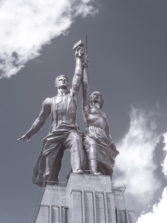 known: MOSCOW, RUSSIA - May 27.2014: Known sculpture Worker and Kolkhoz Woman of architect Mukhina. Infrared Photography