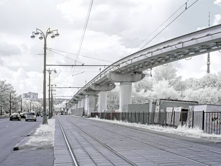 monorail: MOSCOW, RUSSIA - May 27.2014: Monorail and tram road. Infrared Photography
