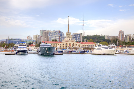 complex navigation: SOCHI, RUSSIA - April 29.2015: Cutters are in marine port of city Editorial