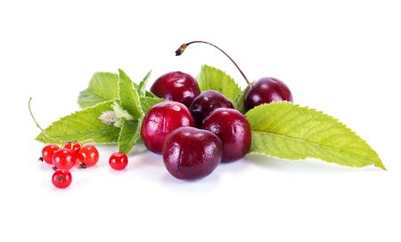 gean: Fruit and ripe berries are isolated on a white background Stock Photo