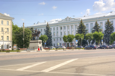 mikhail: TVER, RUSSIA - July, 16.2014: Monument to the Grand duke to Mikhail of Tver, later canonized and administration building in Tver region