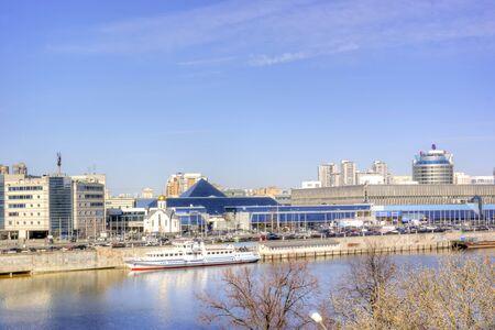 exhibition complex: MOSCOW, RUSSIA - April 10,2014: Unique exhibition complex on Krasnaya Presnya on the river Moskva Editorial