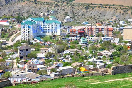 sudak: View of the resort town of Sudak in Crimea mountains
