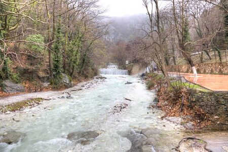 thermal spring: River ?ermopotamos. Embankment of the river next to the thermal spring