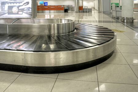 conveyer: SHEREMETYEVO, RUSSIA - March 18.2016: Conveyer for the receipt of luggage in an airport