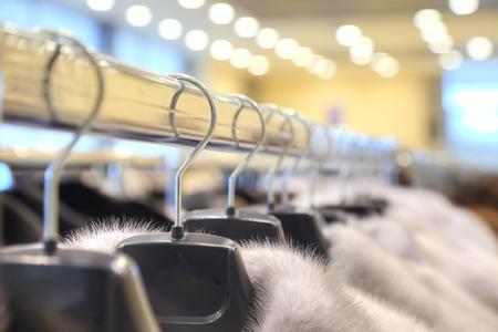inwardly: Showroom coats with fur factory Stock Photo