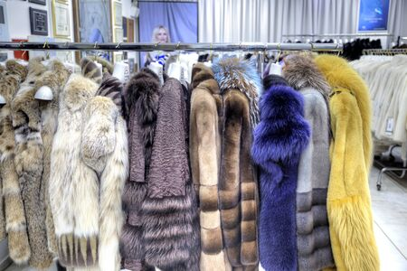 well made: GREECE, KASTORIA - March 12.2016: Showroom coats with fur factory Editorial