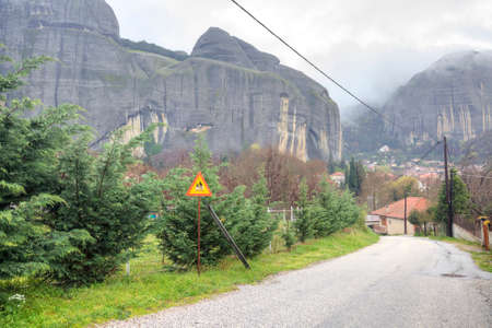 thundershower: Road in monastery on the top of rock in a monasterial complex Meteora, Greece