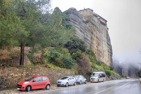 thundershower: METEORA, GREECE - March 13.2016: Road in monastery on the top of rock in a monasterial complex Meteora