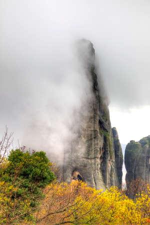 thundershower: Greece. Fog. The scenic Meteora Rocks Stock Photo