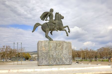 alexander the great: THESSALONIKI, GREECE — March 17.2016: Sculpture of Alexander the Great on the city waterfront