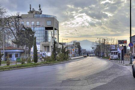 thessaloniki: THESSALONIKI, GREECE - March 12.2016: Sunrise over the city. Empty highway
