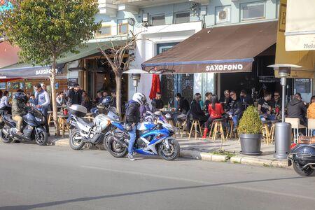municipal: THESSALONIKI, GREECE - March 17.2016: Road along a municipal embankment in the center of city.