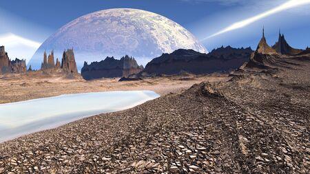 stranger: Rocks and  lake. Landscape of stranger planet.  3D illustration