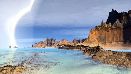 creek: Rocks and  lake. Landscape of stranger planet.  3D illustration