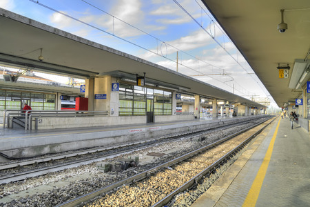 reggio emilia: REGGIO EMILIA, ITALY - October 07.2011: Platform Railway Station in the city of Reggio Emilia Editorial