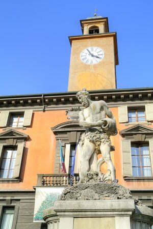 reggio emilia: Ancient fountain of the river Crostolo on an area Piazza del Duomo in city Reggio Emilia Stock Photo