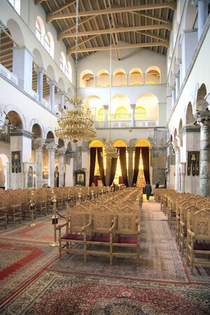 inwardly: THESSALONIKI, GREECE - March 14.2016: Interior. Orthodox Church of Saint Demetrios was built on the site of the death of the Holy Great Martyr Demetrios Editorial