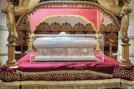 martyr: THESSALONIKI, GREECE - March 14.2016: The reliquary of the Christian saint of Anysia of Salonikain the temple of great martyr Saint Demetrius