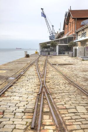 bollards: THESSALONIKI, GREECE - March 14.2016: Cargo and passengercity seaport