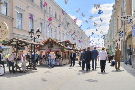 passe: MOSCOW, RUSSIA - June 14.2016: Old pedestrian street Rozhdestvenka in the historic center of city