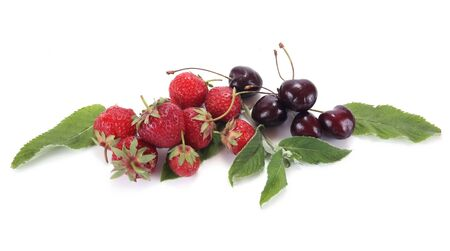 gean: Strawberry and ripe berries are isolated on a white background