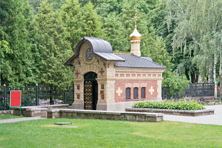 princely: GOMEL, REPUBLIC BELARUS - June 19.2016: Princely tomb chapel on the territory of the palace complex Paskevich