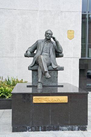 composer: GOMEL, REPUBLIC BELARUS - June 19.2016: Sculpture of composer Tchaikovsky near a concerto hall Editorial