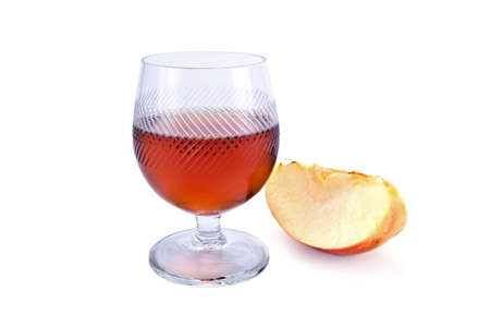 lobule: Apple cider and lobule of fruit it is isolated on a white background