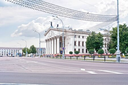 entertaining area: GOMEL, REPUBLIC BELARUS - June 19.2016: State Drama Theater on Lenin Square