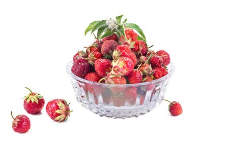 gean: Berries of strawberry in a glass vase Stock Photo