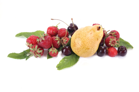 Strawberry and ripe berries are isolated on a white background