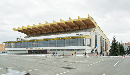 sports complex: RUSSIA, TVER - April 04,2014: Cityscape. Palace of Sports Anniversary - Ice Palace, part of the sports complex Anniversary in Tver. Was opened in 1983 Editorial