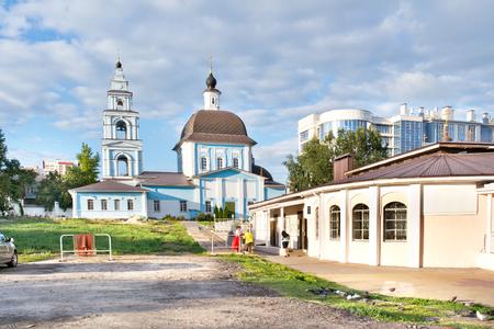 BELGOROD, RUSSIA - The territory of the Marfo-Mariinsky Convent. Pokrovsky Church and church shop