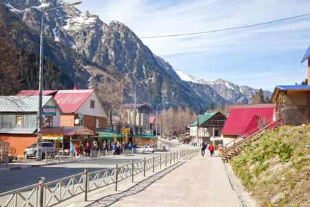 dombai: DOMBAY, RUSSIA - May 03.2015: Dombai Glade. The settlement in the Caucasus Mountains, skiing resort