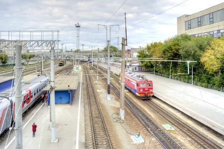 manoeuvre: SARATOV, RUSSIA - September 09.2016: Train on the platform of the municipal railway station