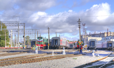 depot: SARATOV, RUSSIA - September 09.2016: Train parking, equipment and train service in the city railway depot