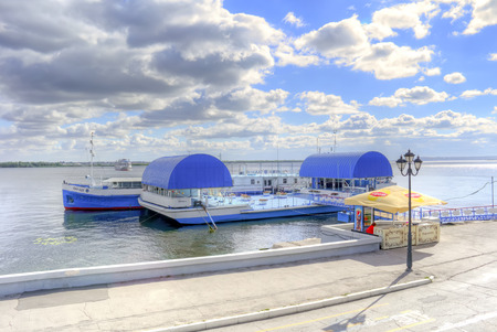 SARATOV, RUSSIA - September 09.2016: Municipal embankment of Cosmonauts with moorages