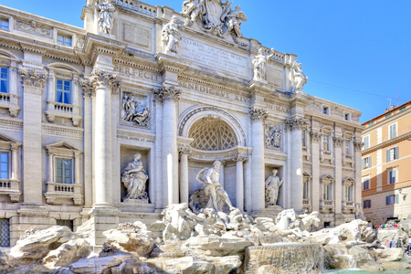ROME, ITALY - Ancient fountain Trevi in the historic part of the city was built in 1762.  Baroque style