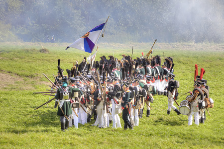 BORODINO, RUSSIA - September 09.2009: Participants of reconstruction of the Borodino battle on the field. Free access to public presentation, the reconstruction of the Battle of Borodino field in 1812 year