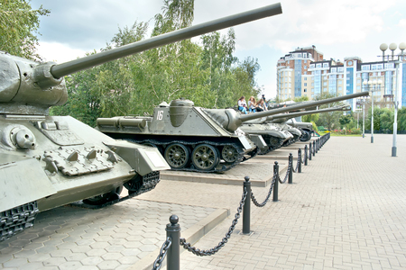 weaponry: BELGOROD, RUSSIA - August 30.2016: Old models of military weaponry, participating in a battle on the Museum Square next to Diorama the Kursk battle