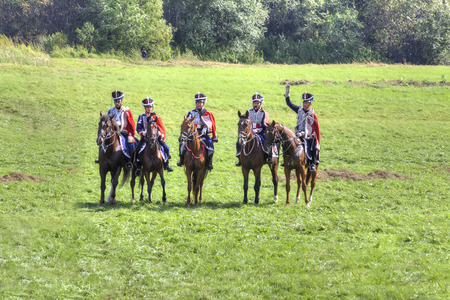 troop: BORODINO, RUSSIA - September 09.2009: Participants of reconstruction of the Borodino battle on the field. Free access to public presentation, the reconstruction of the Battle of Borodino field in 1812 year
