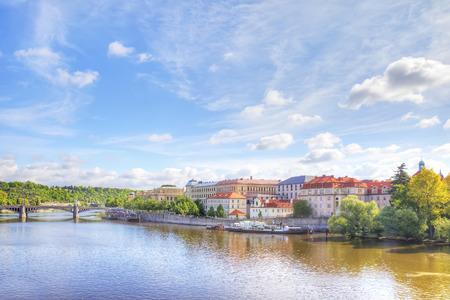 quarter: Prague. City Quarter and the bridge over the Vltava river Stock Photo