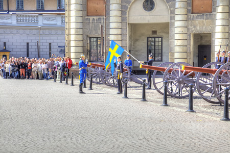 royal guard: STOCKHOLM, SWEDEN - May 04.2013: Changing of the guard ceremony with the participation of the Royal Guard cavalry. The colorful ceremony attracts many tourists and has become a tourist sights Editorial