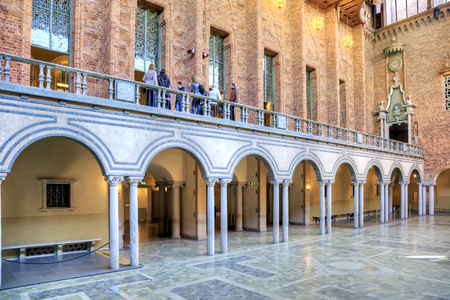 inwardly: STOCKHOLM, SWEDEN - May 04.2013: Blue Hall, where honored the Nobel laureates