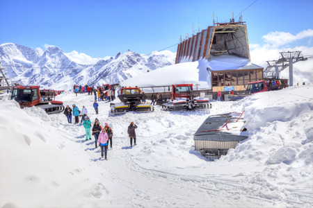 locality: CAUCASUS, RUSSIA - May 01.2015: Station of Aerial lift on a mountain Elbrus. First level