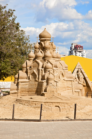 MOSCOW, RUSSIA - August 18.2013: Exhibition of sculptures made of sand in Kolomenskoye city park. Sculpture Church of the Transfiguration (Kizhi)