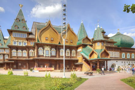 MOSCOW, RUSSIA - August 18.2013: Restored ancient palace of Tsar Alexei Mikhailovich Romanov is in Kolomenskoye