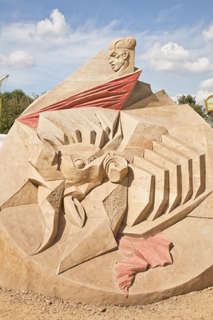 MOSCOW, RUSSIA - August 18.2013: Exhibition of sculptures made of sand in Kolomenskoye city park. Sculpture On an arena