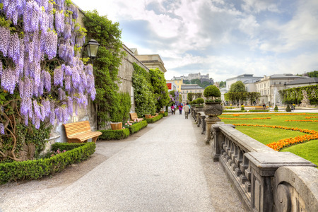 garden city: SALZBURG, AUSTRIA - May 05.2012: An ancient garden of palace complex Mirabelle is in city Salzburg Editorial
